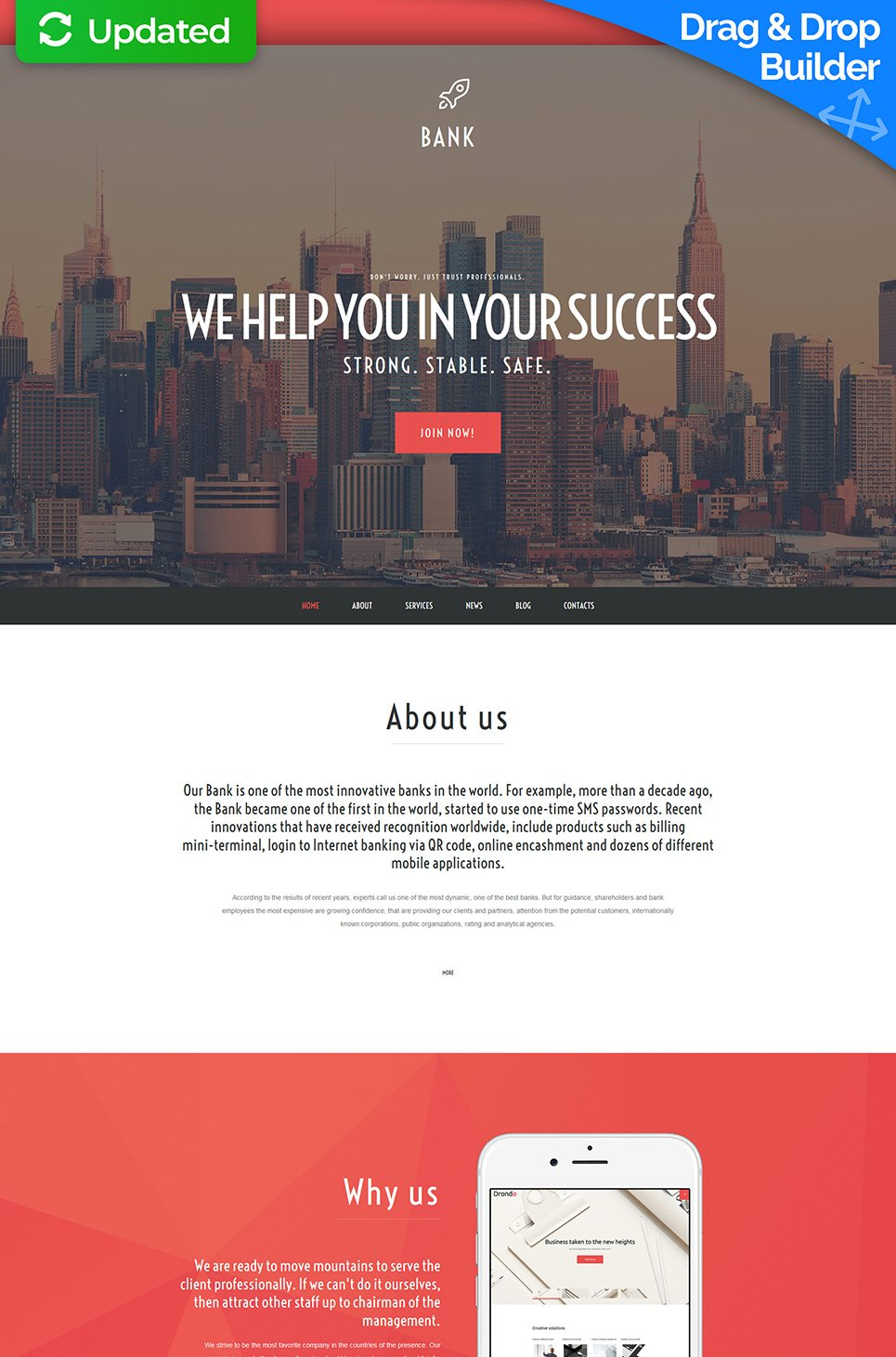 Responsive site for banking company