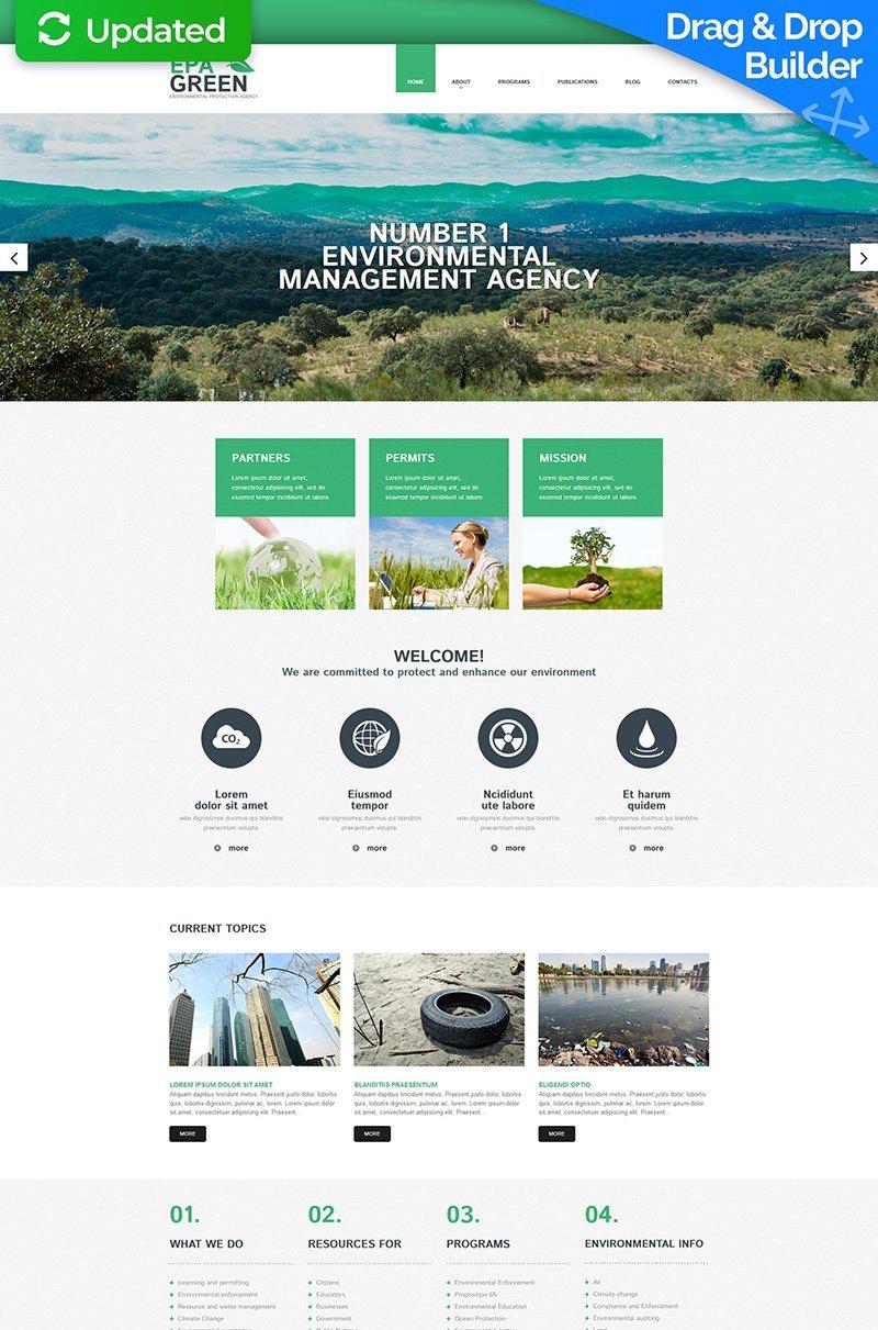 Адаптивный MotoCMS 3 шаблон №55986 на тему окружающая среда - скриншот