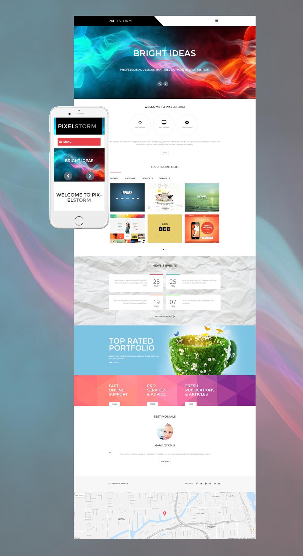 Адаптивный шаблон сайта на тему дизайн студия #55972