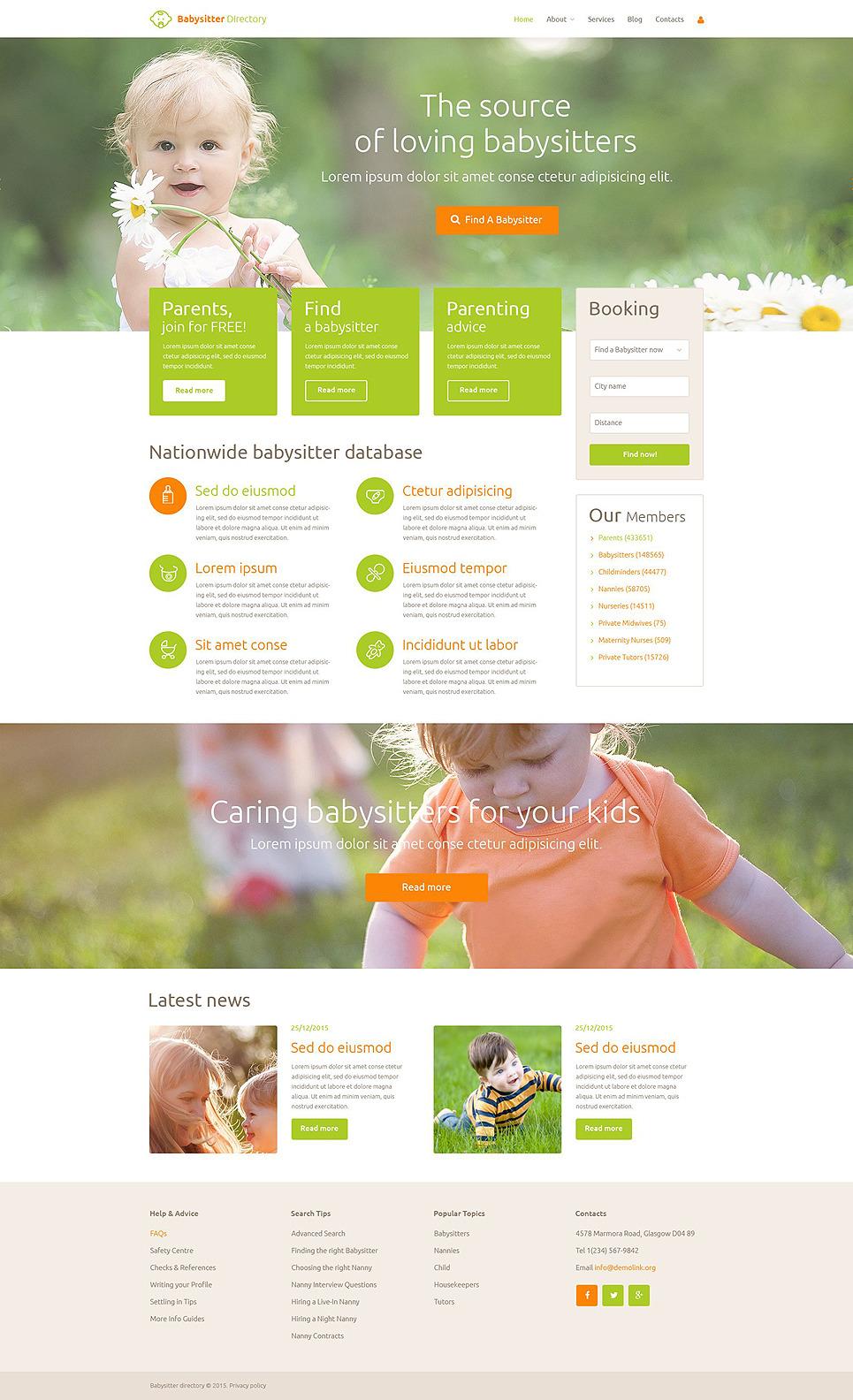 Babysitter Directory PSD Template New Screenshots BIG