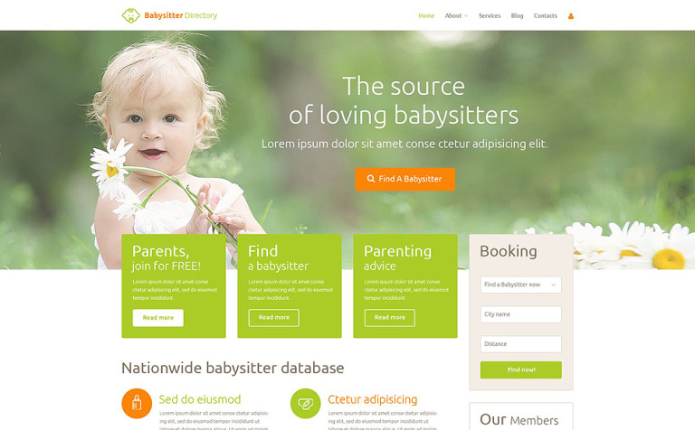 Babysitter Directory PSD Template New Screenshots BIG
