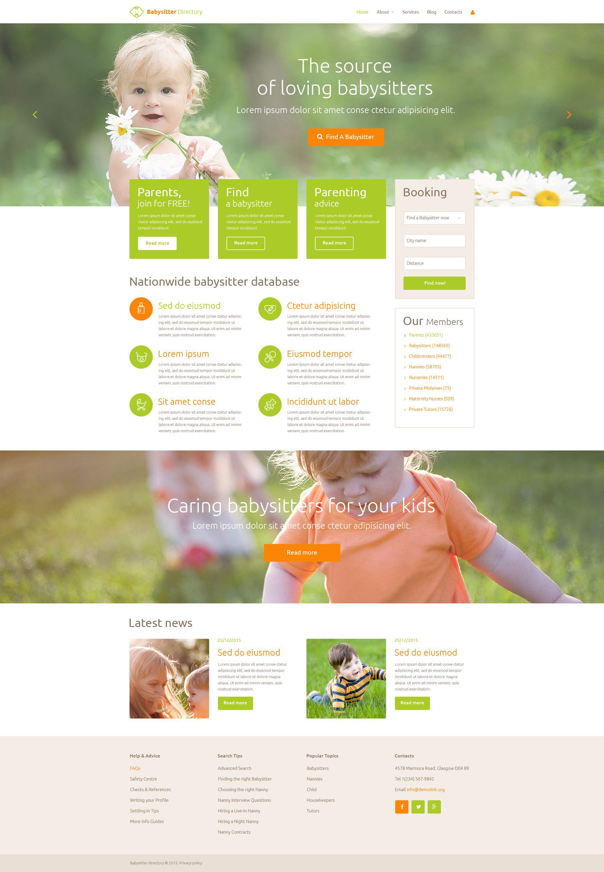 Babysitter Directory PSD Template - screenshot