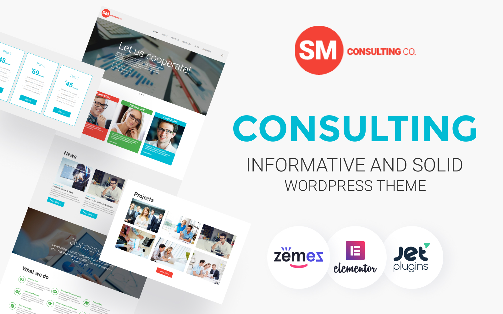 """Consulting Co"" Responsive WordPress thema №55944"