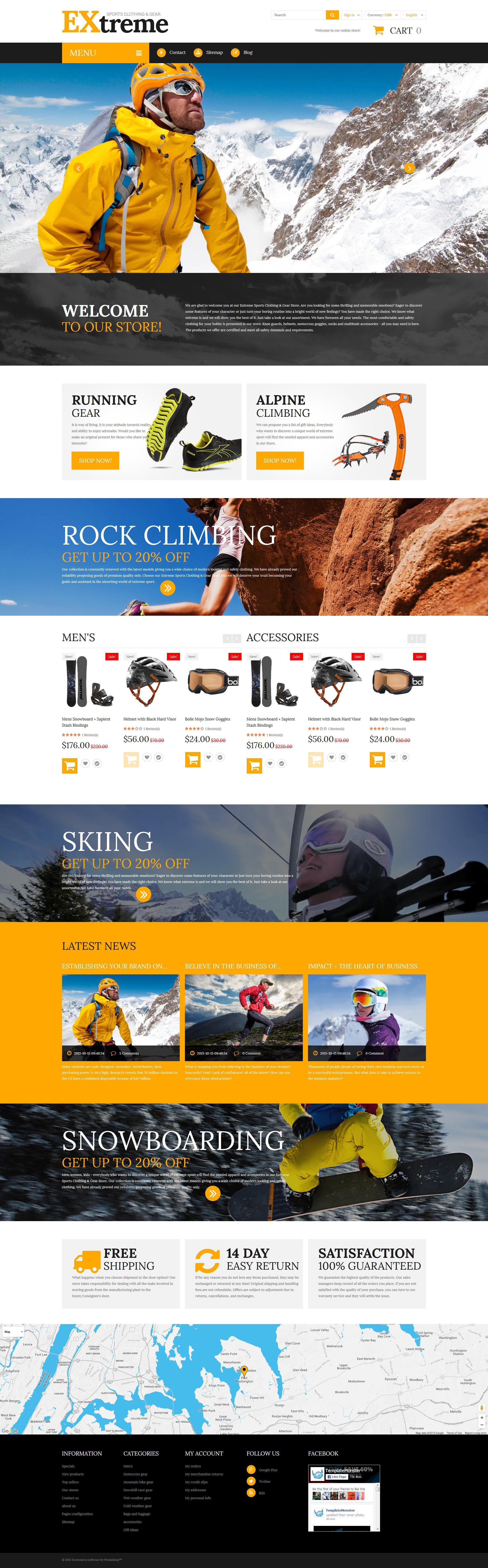 Extreme Sports Clothing PrestaShop Theme