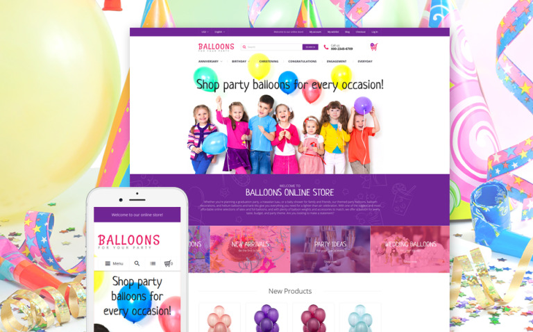 Festive Balloons Magento Theme New Screenshots BIG