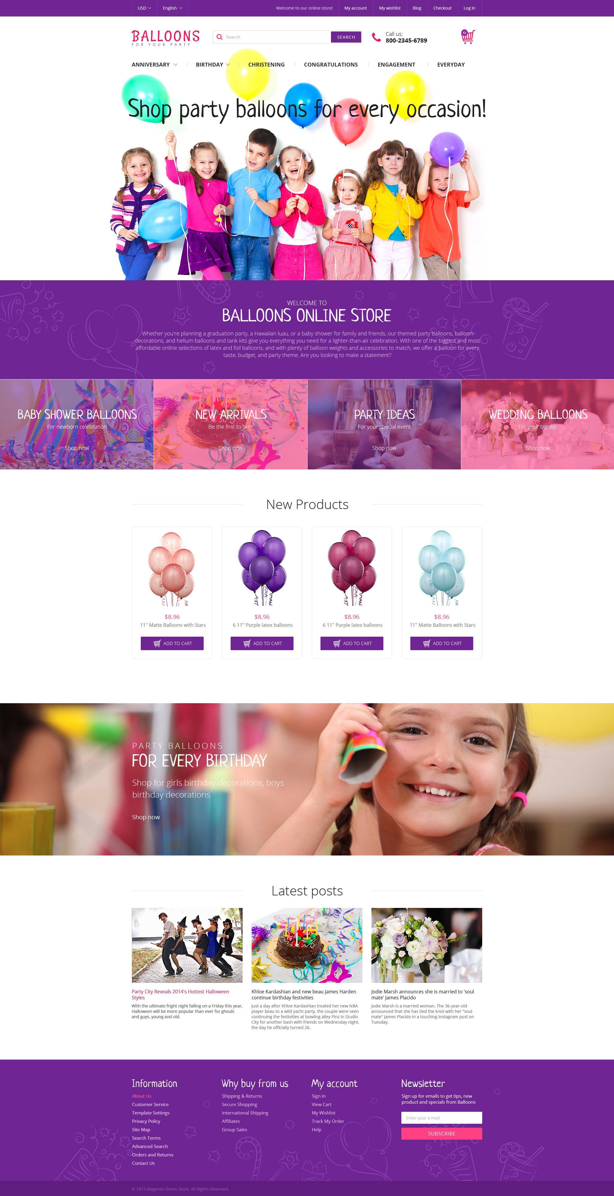 Festive Balloons Magento Theme - screenshot