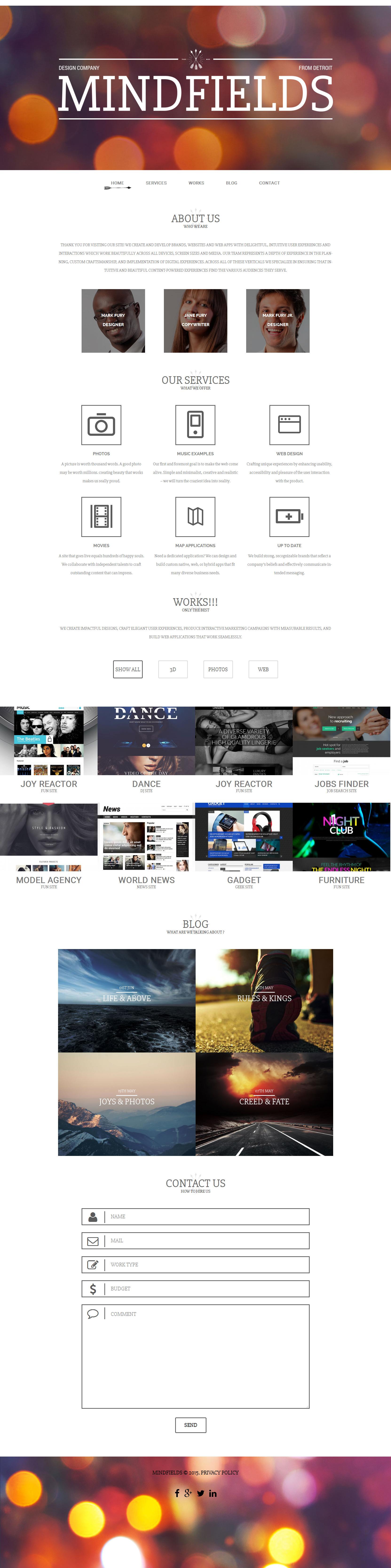 """Mind Fields"" - адаптивний WordPress шаблон №55973 - скріншот"