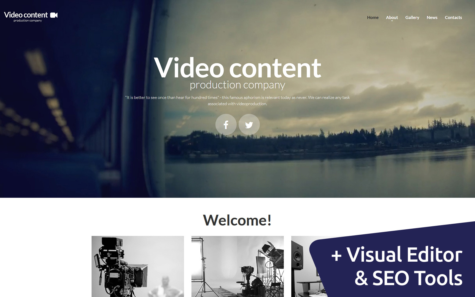 "Moto CMS 3 Template namens ""Video Content - Production Company"" #55998"