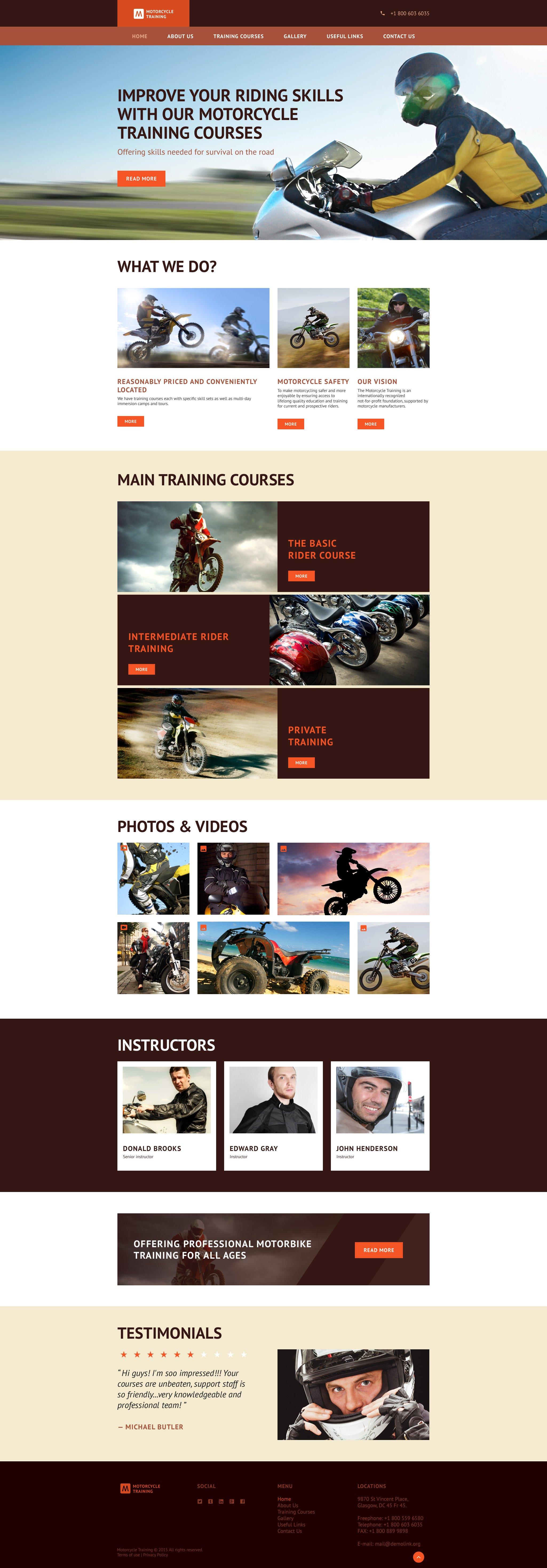 """Motorcycle Training"" - адаптивний Шаблон сайту №55948 - скріншот"