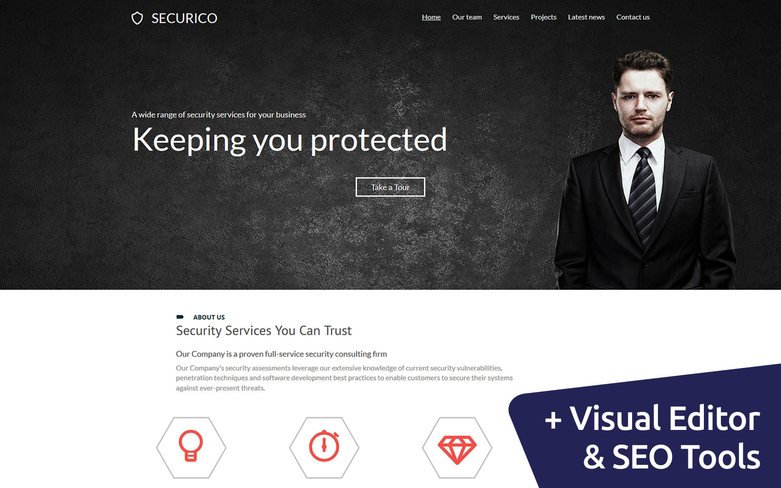Responsivt Security Company Moto CMS 3-mall #55999