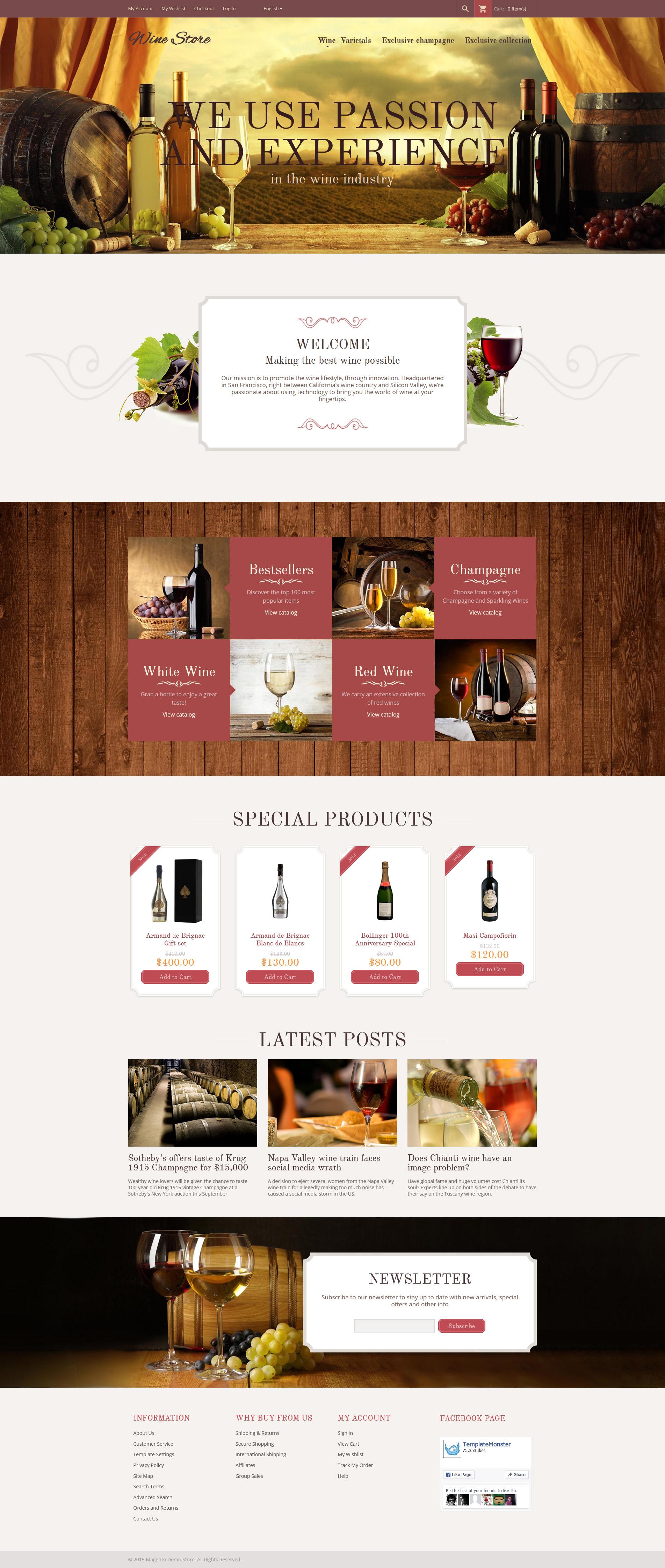 Responsivt Wine Store Magento-tema #55961