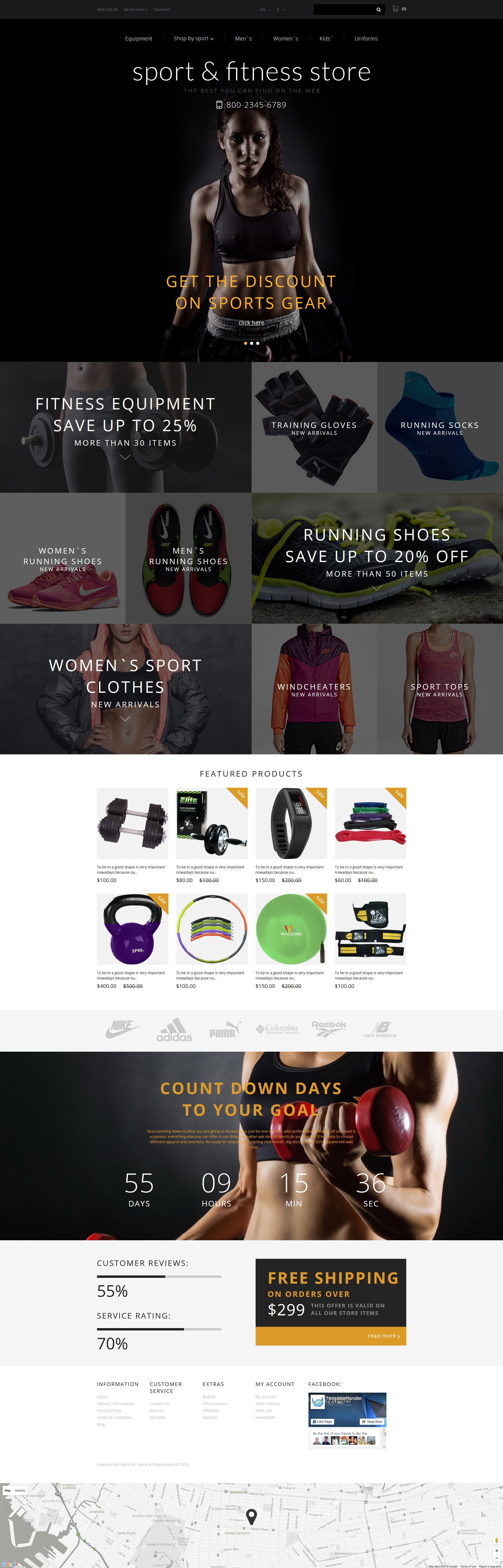 """Responzivní OpenCart šablona """"Fitness Training"""" #55950"""