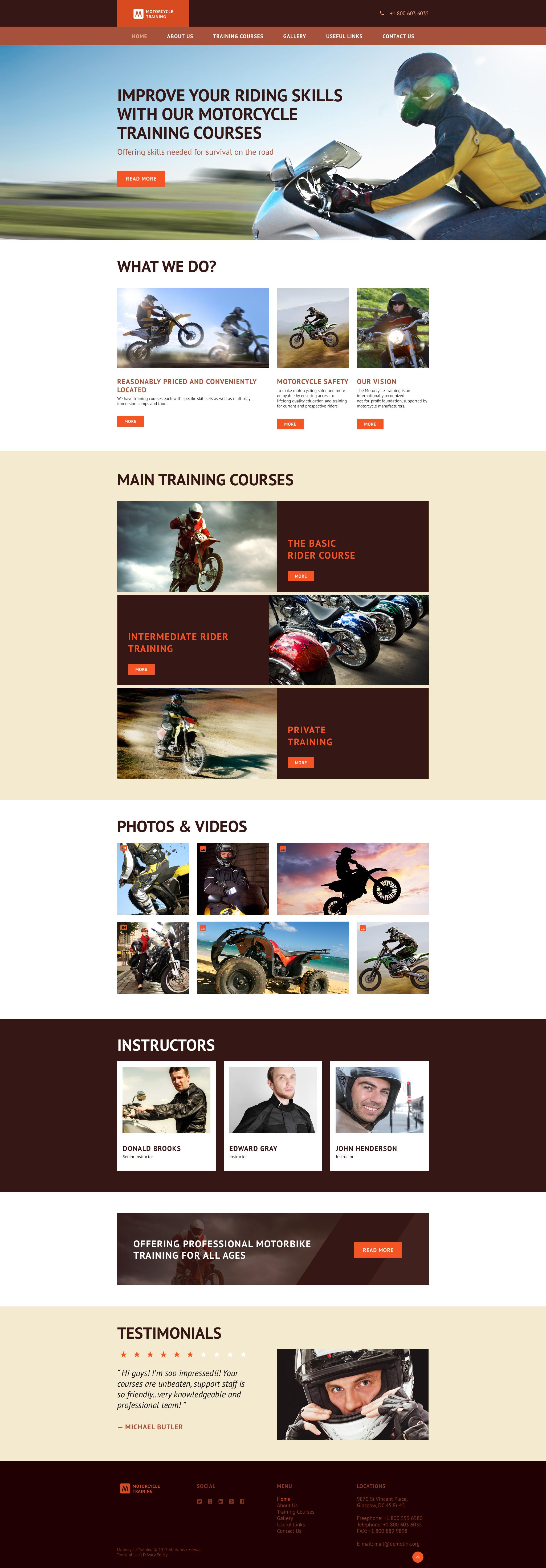 Reszponzív Motorcycle Training Weboldal sablon 55948 - képernyőkép