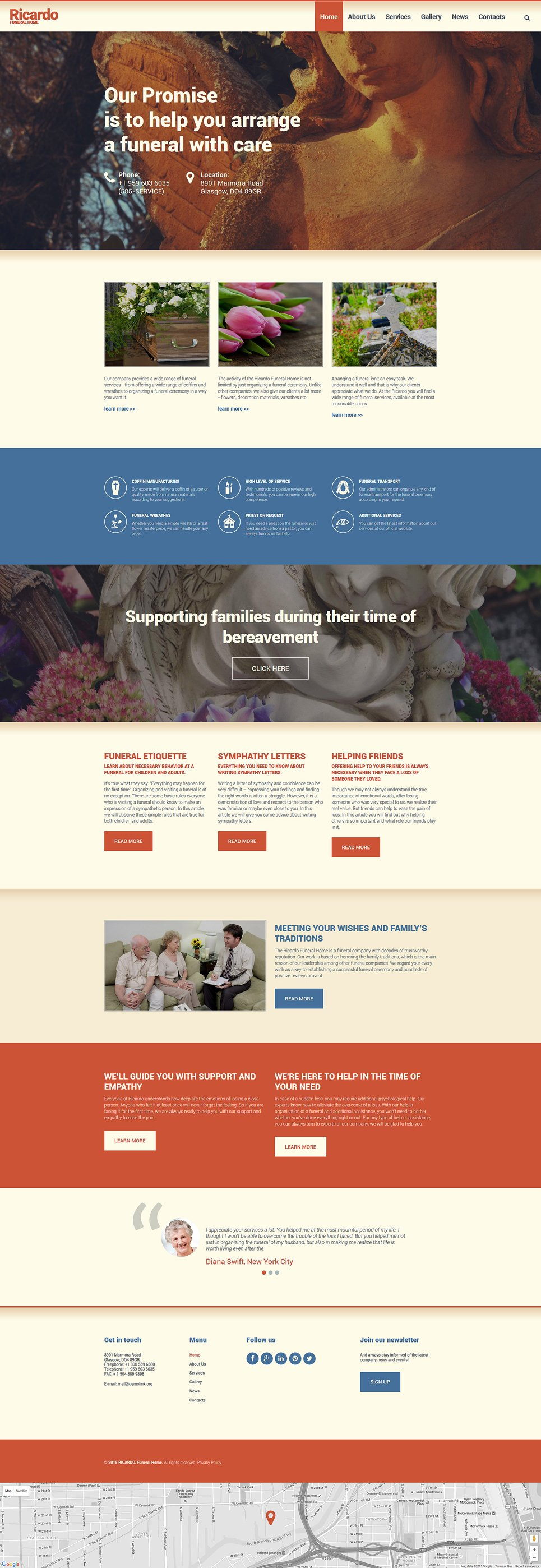 Funeral services drupal template for Drupal 404 template