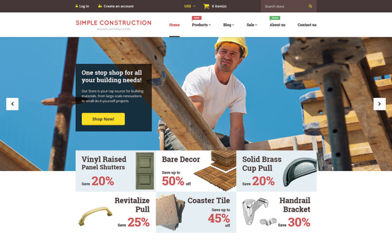 Simple Construction Shopify Theme