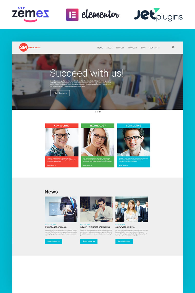 "Tema De WordPress ""Consulting Co"" #55944 - captura de pantalla"