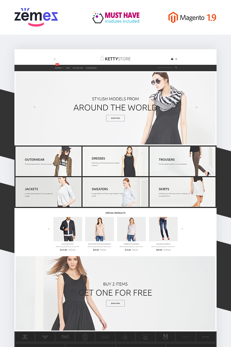 "Tema Magento ""Ketty Store"" #55943 - captura de pantalla"