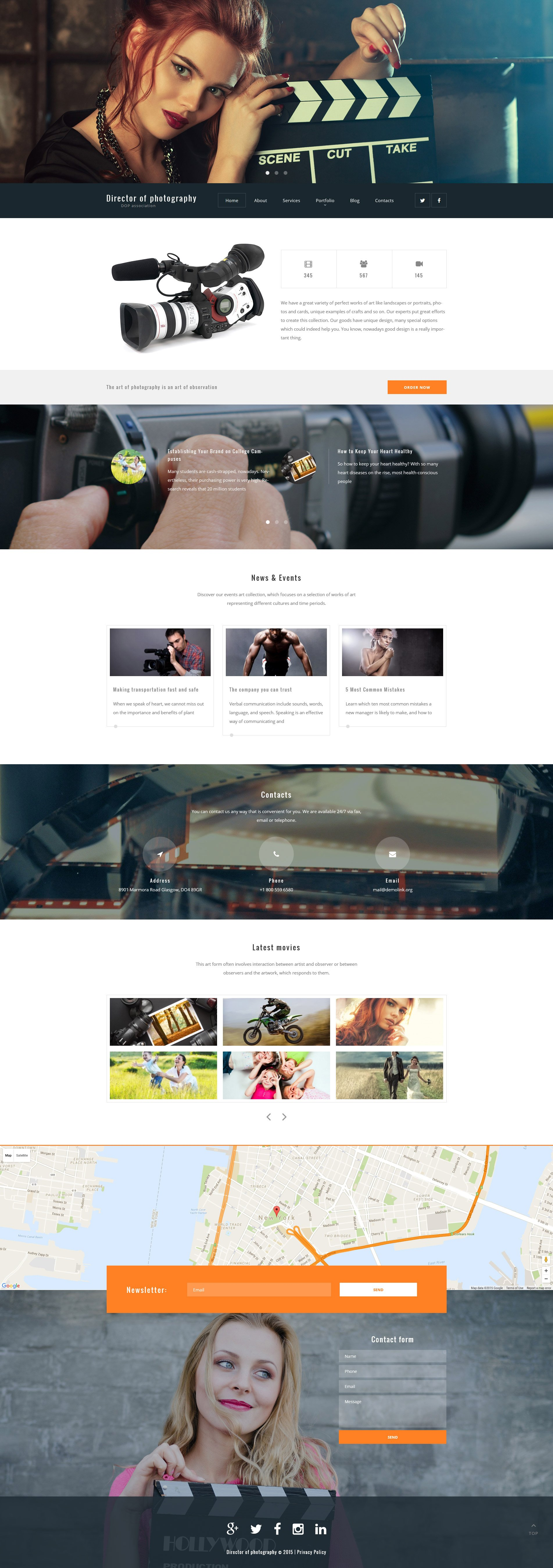 "Tema WordPress Responsive #55962 ""Director of Photography"" - screenshot"