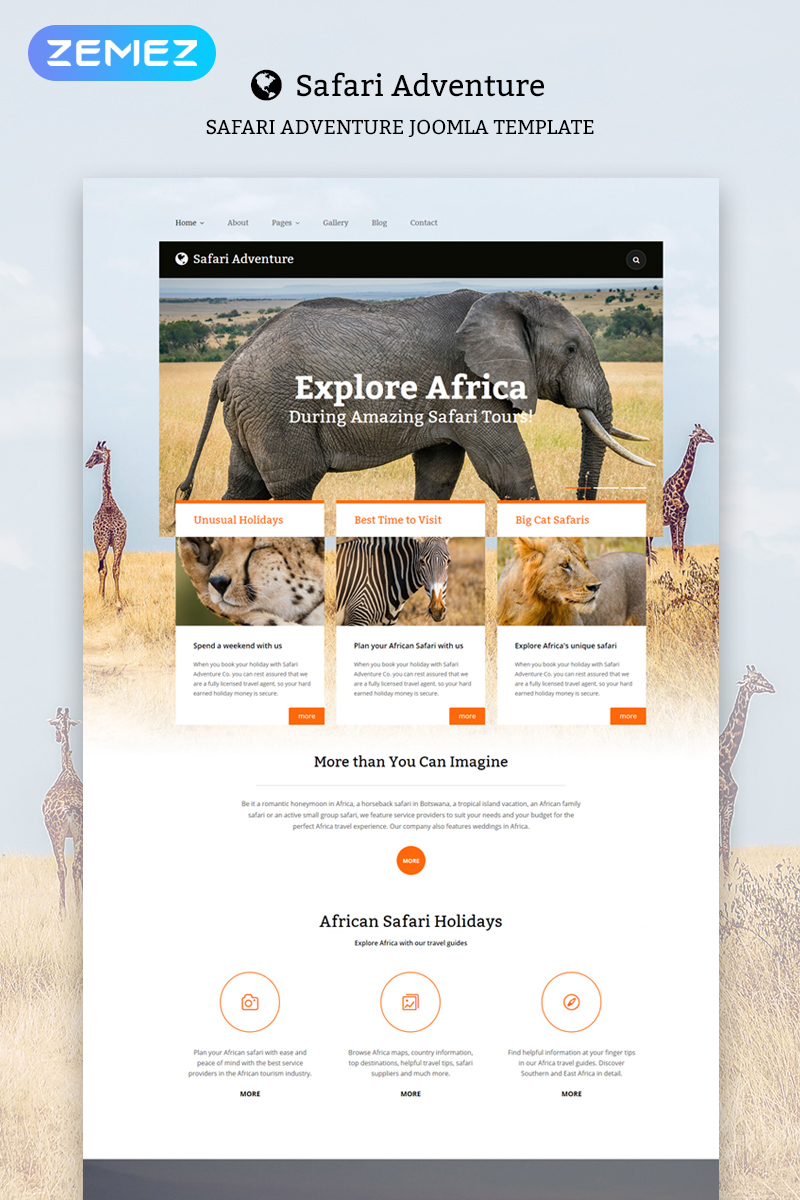 "Template Joomla #55957 ""Safari Adventure"""