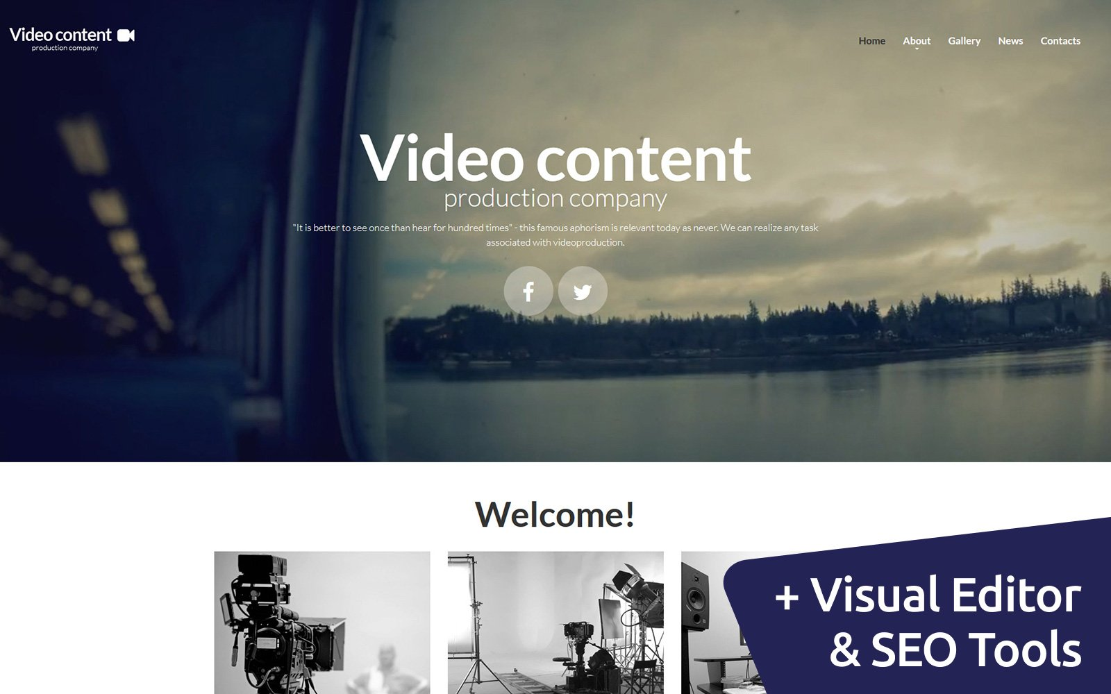 """Video Content - Production Company"" 响应式Moto CMS 3 模板 #55998"