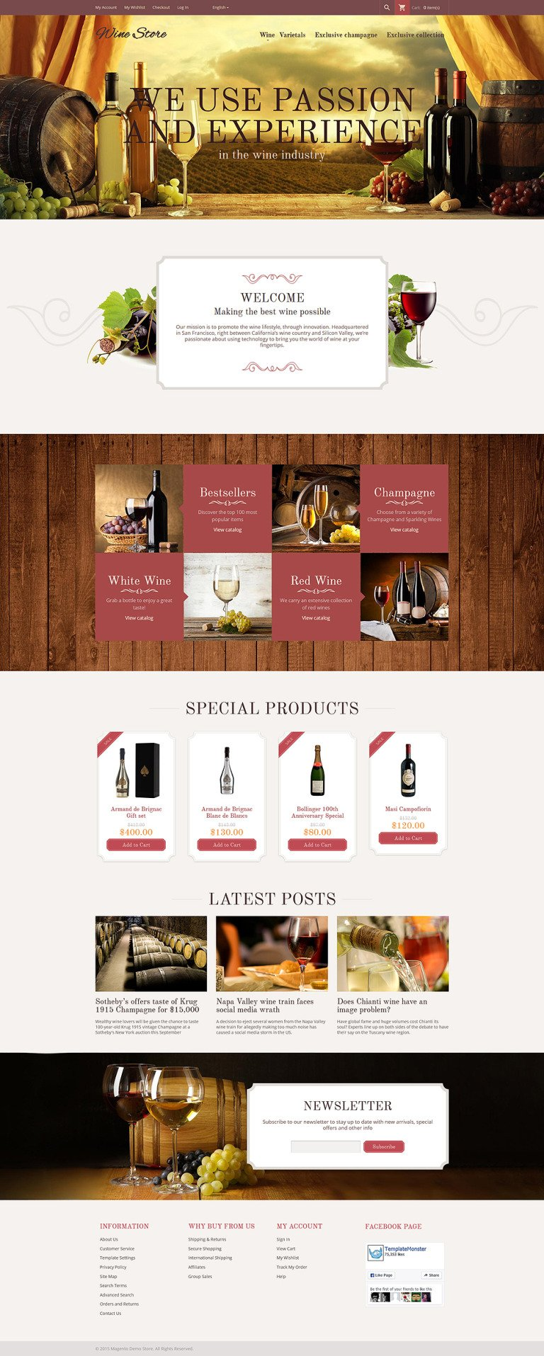Wine Store Magento Theme New Screenshots BIG