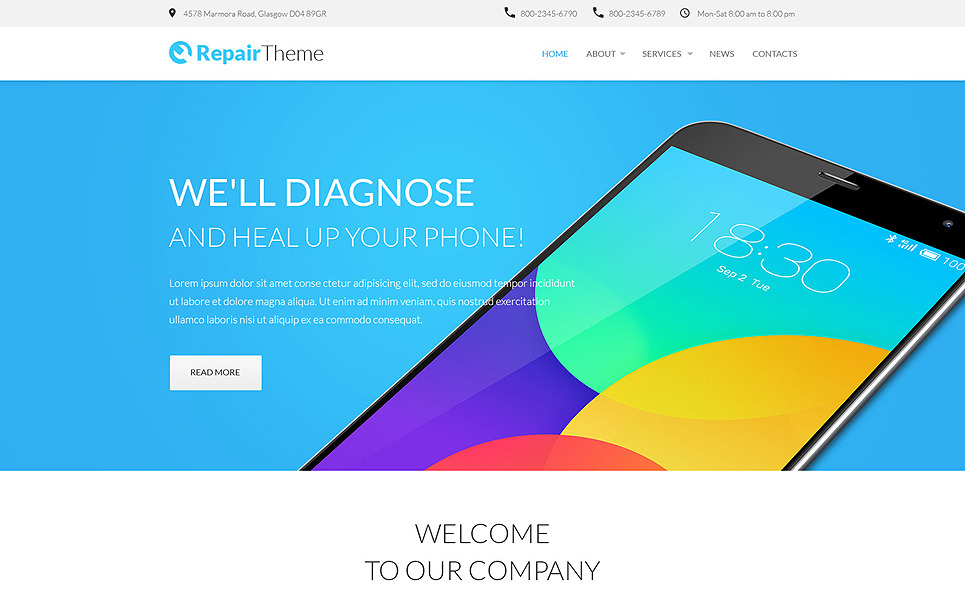 Responzivní Šablona webových stránek na téma Počítačové opravy New Screenshots BIG
