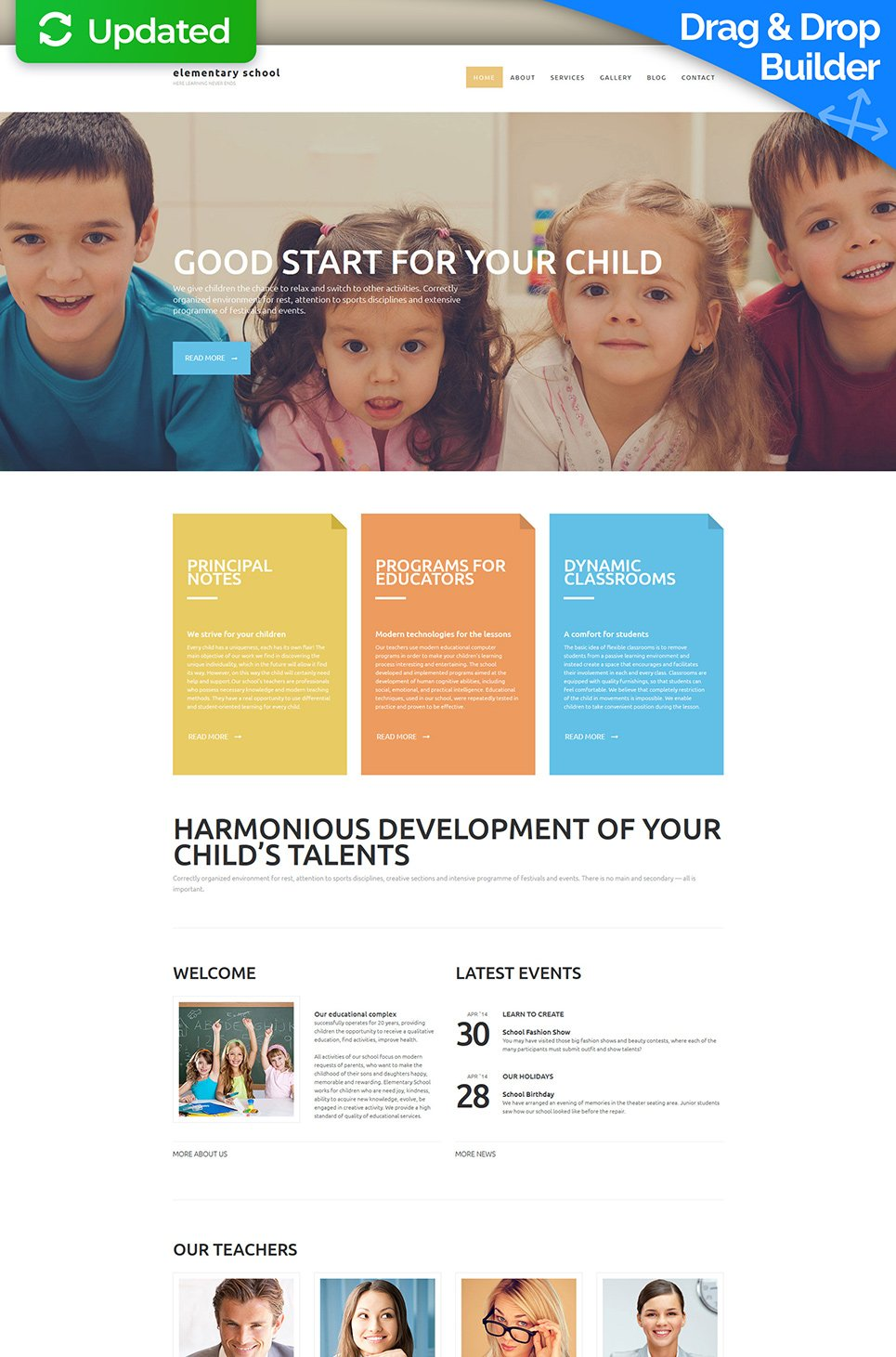 Responsive site for elementary school