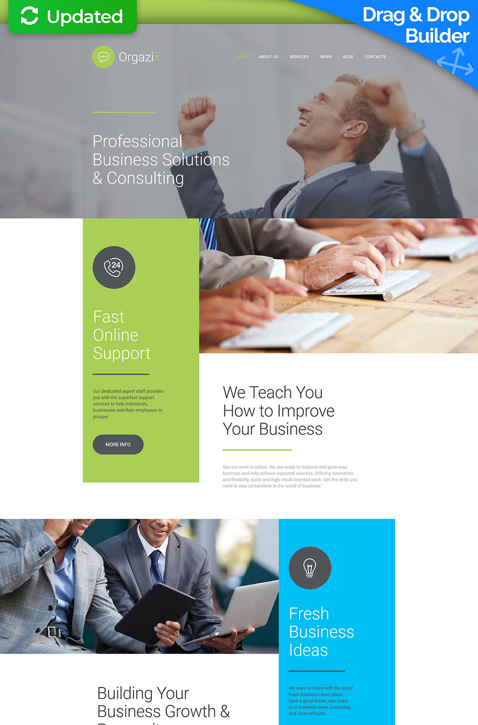 Multicolor site template for businessmen