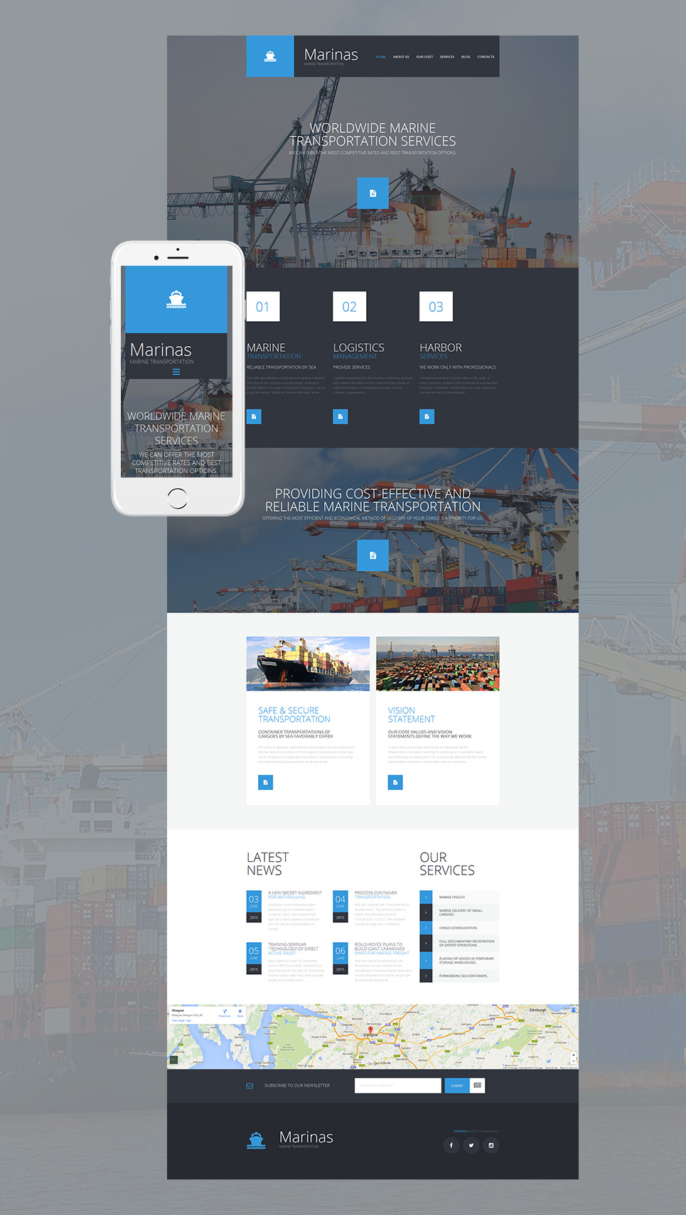 Responsive theme for transportation site