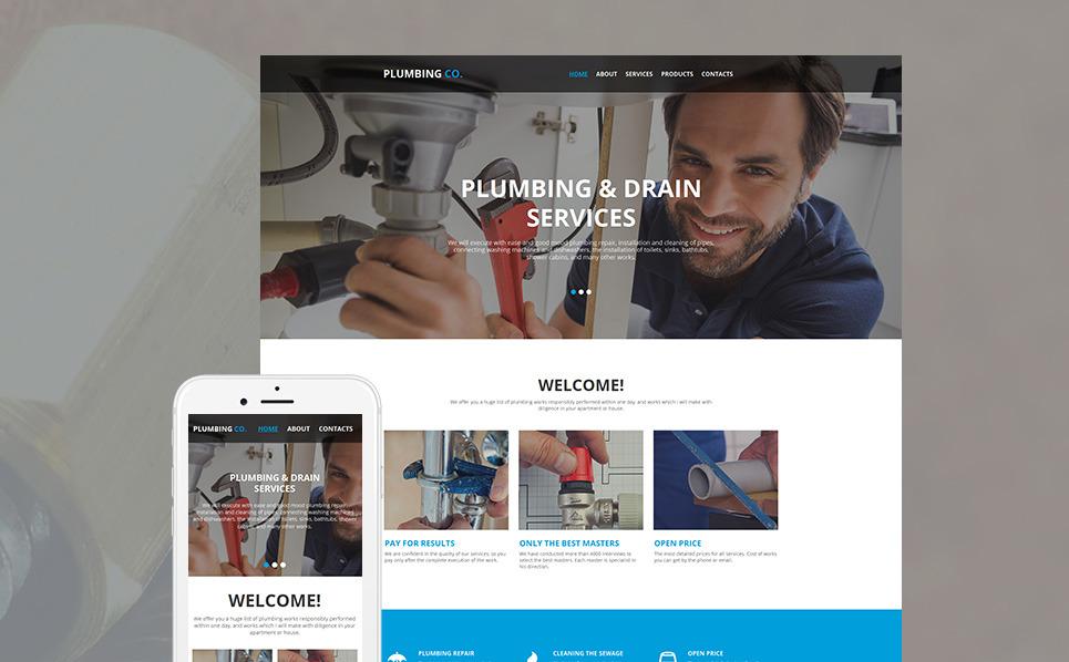 Prémium Vízvezetékszerelés Moto CMS HTML sablon New Screenshots BIG