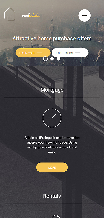 Template #56093 Real Estate Wordpress 3.x - Smartphone Layout 1