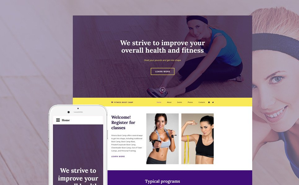 Responsive Website template over Fitness New Screenshots BIG