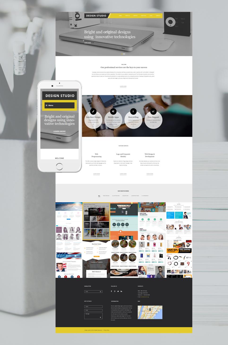 Адаптивный шаблон сайта на тему дизайн студия #56038