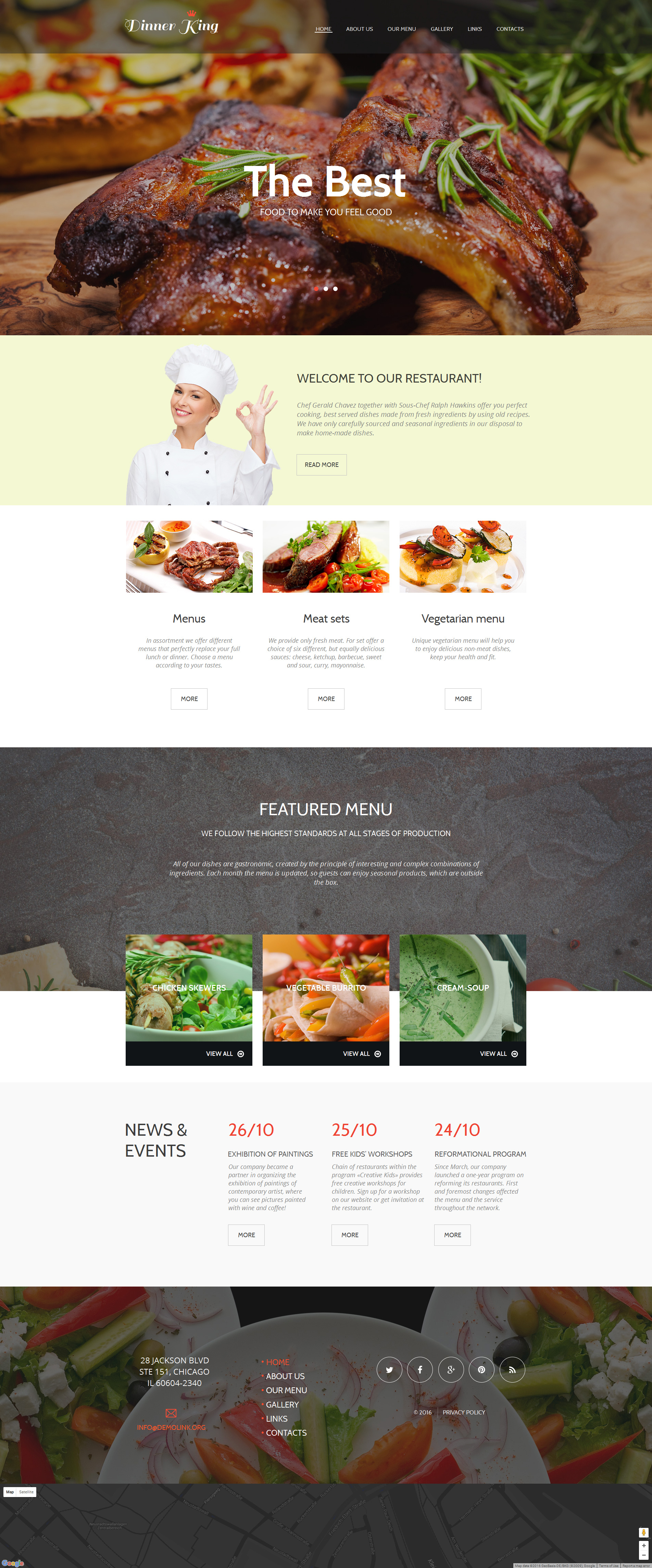 Cafe and Restaurant Moto CMS HTML Template