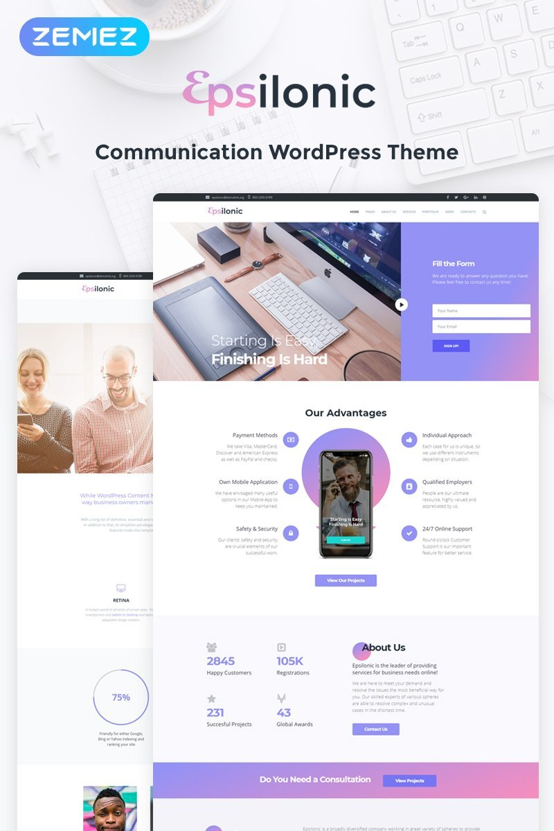 """""""Communication"""" Responsive WordPress thema №56025 - screenshot"""