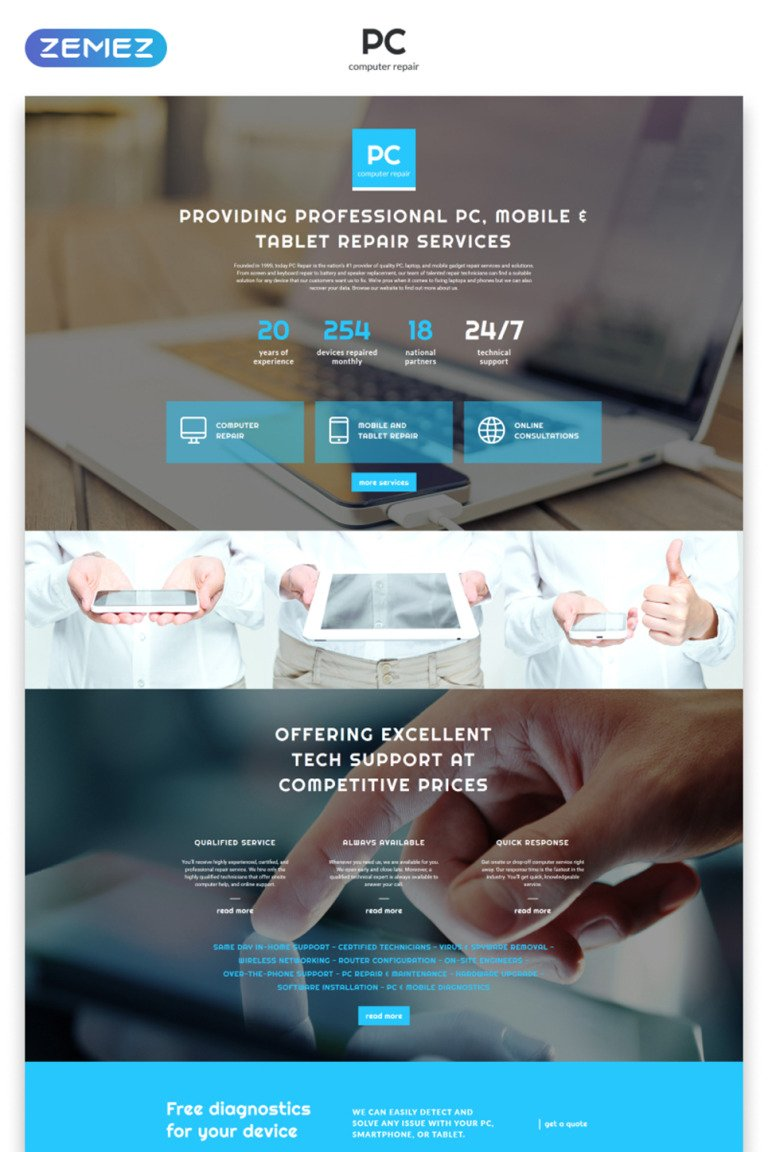 Computer Repair Responsive Landing Page Template New Screenshots BIG