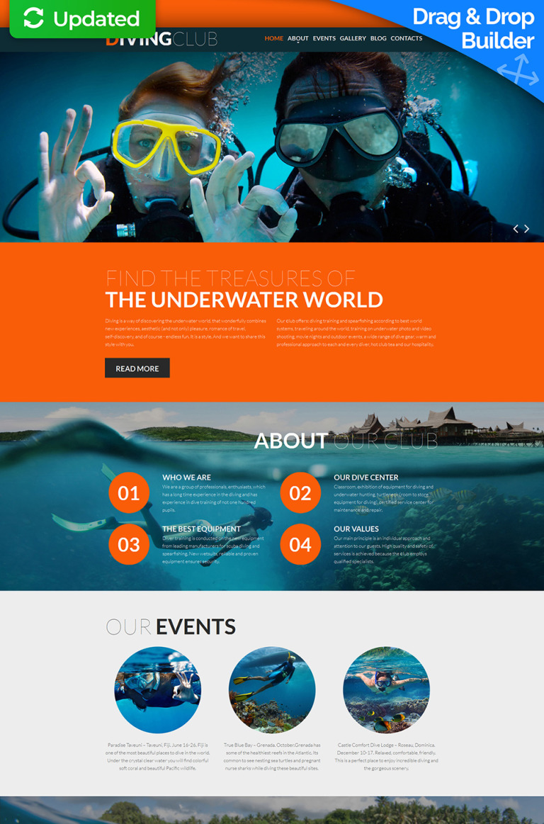 Diving Responsive Moto CMS 3 Template New Screenshots BIG