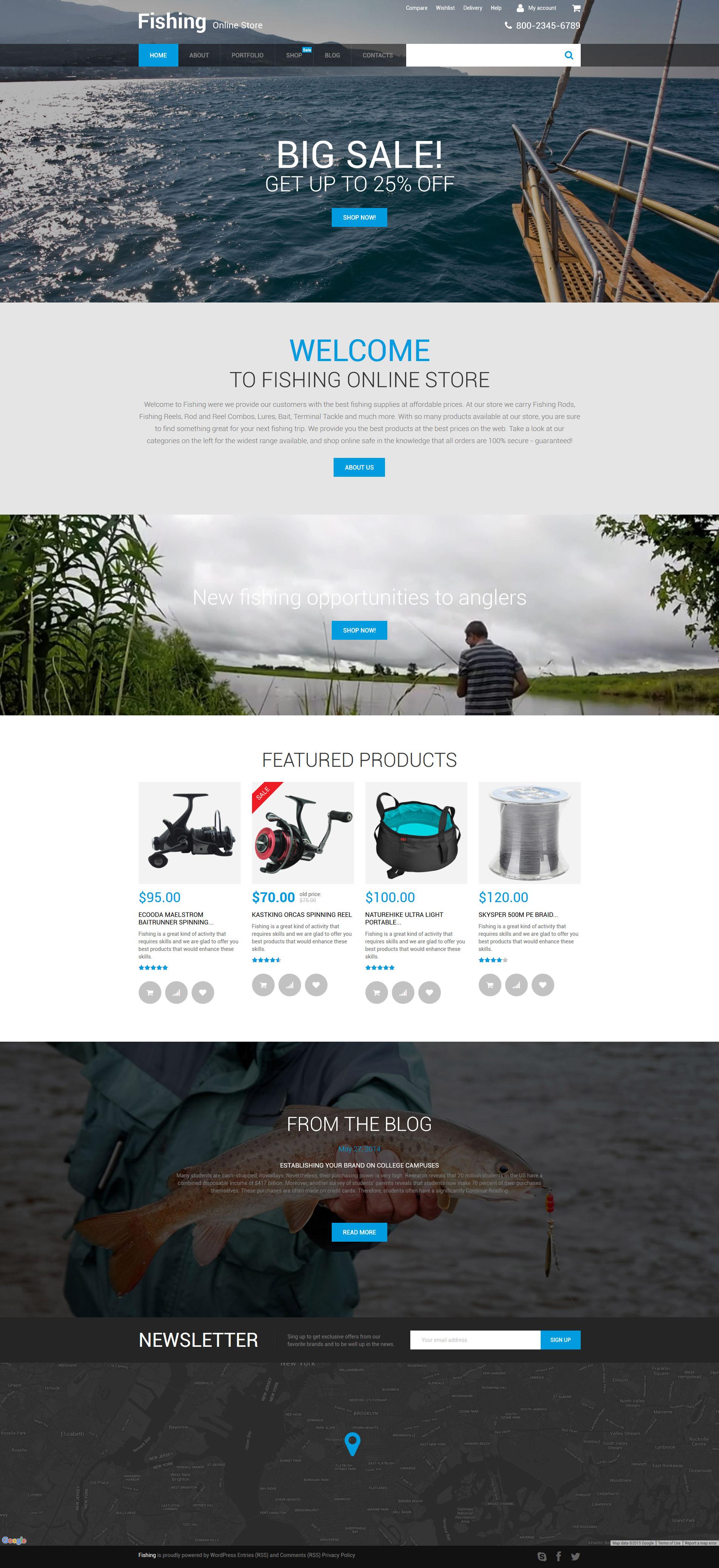 """Fishing Online Store"" WooCommerce模板 #56017"