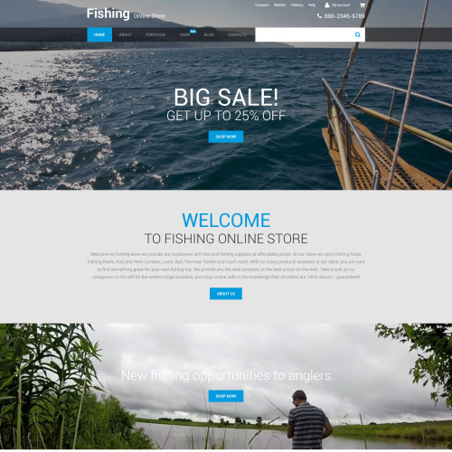 Fishing Online Store - HTML5 WooCommerce Template