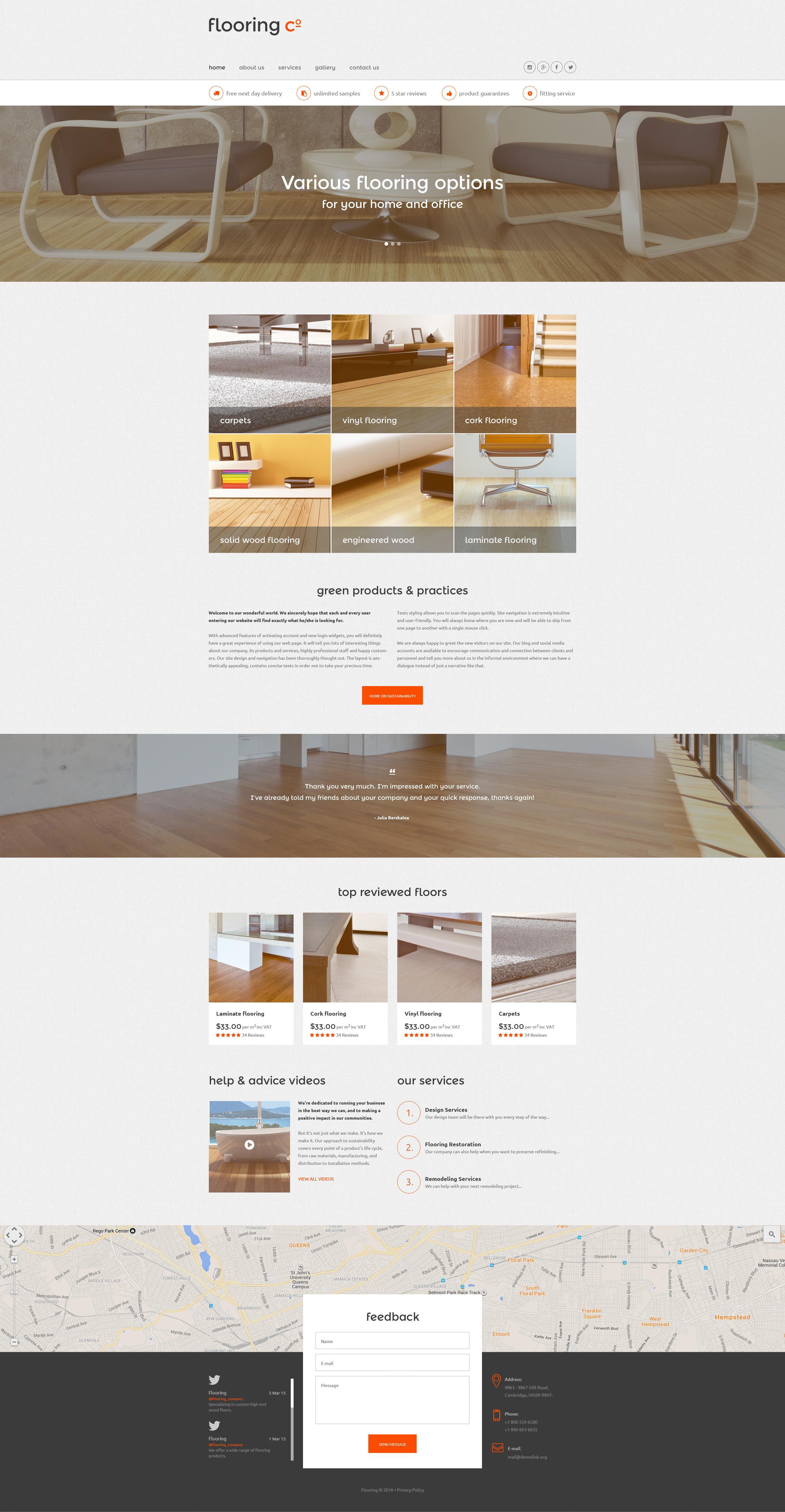 """Flooring Co."" - адаптивний Шаблон сайту №56096 - скріншот"