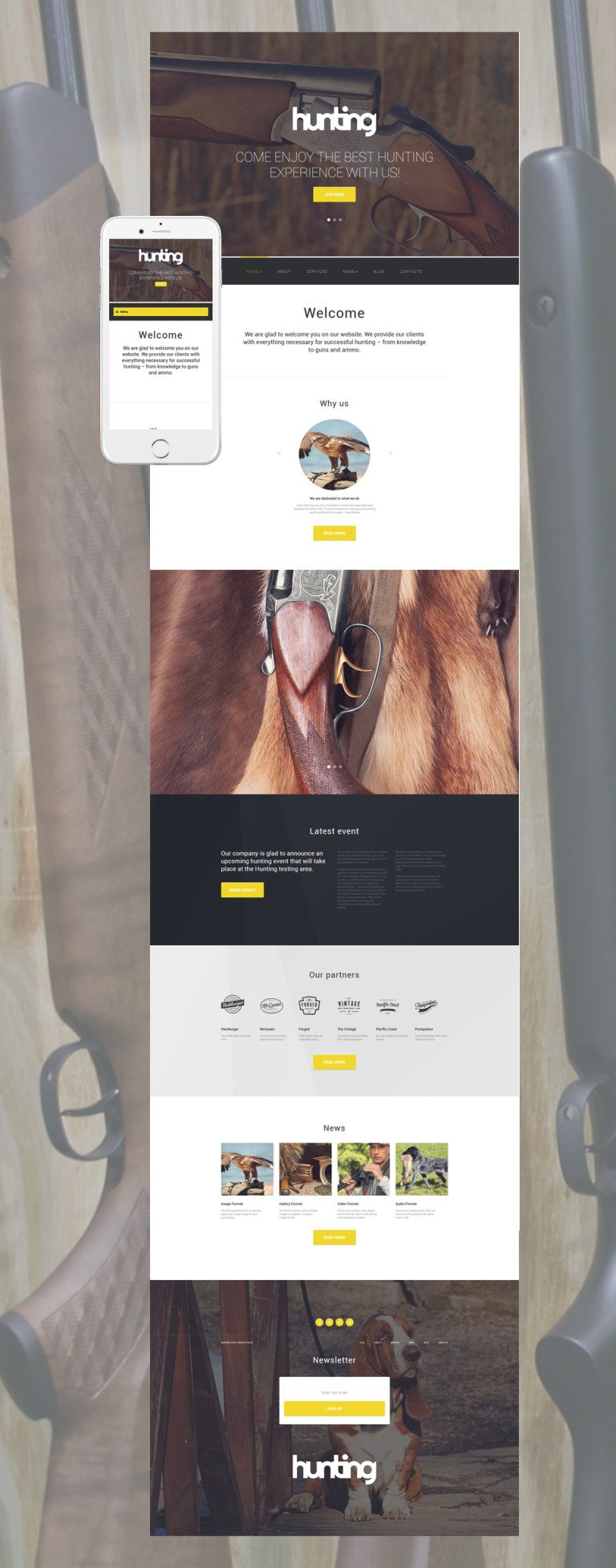 Hunting Club WordPress Theme New Screenshots BIG