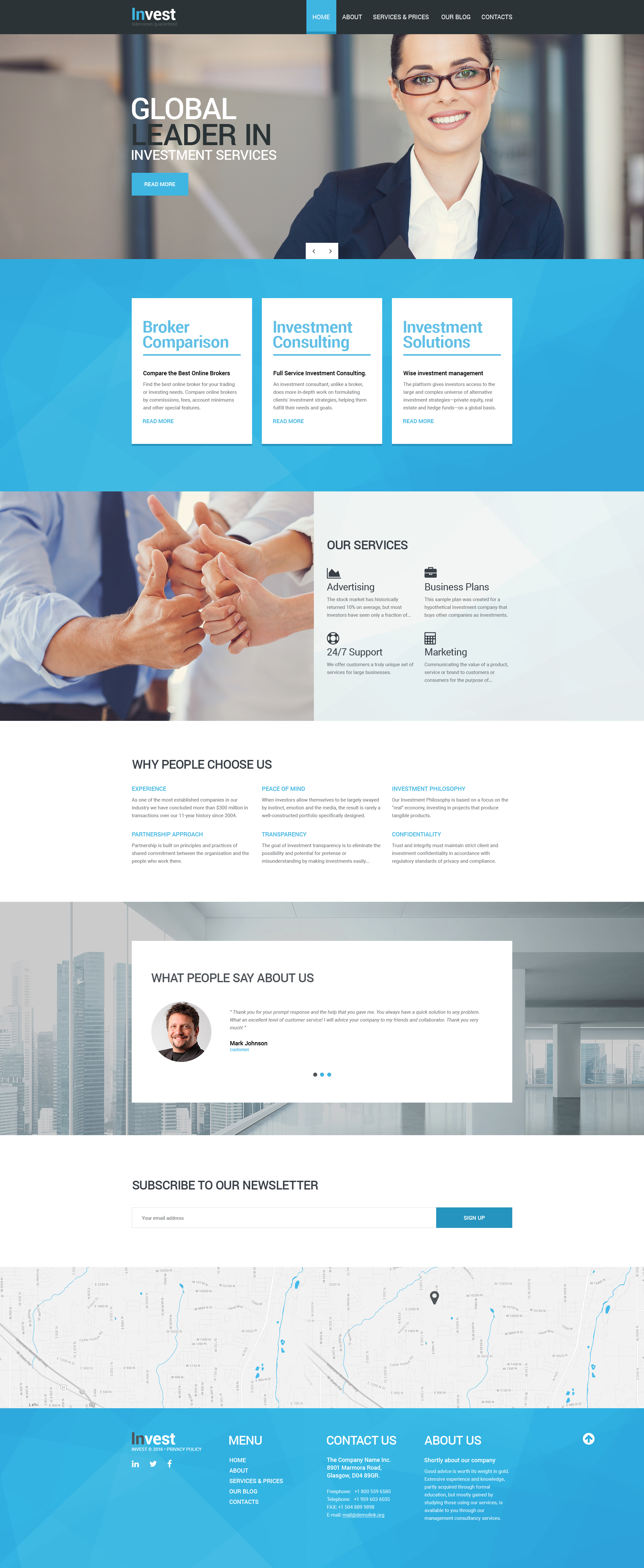 """Invest"" Responsive Drupal Template №56069"
