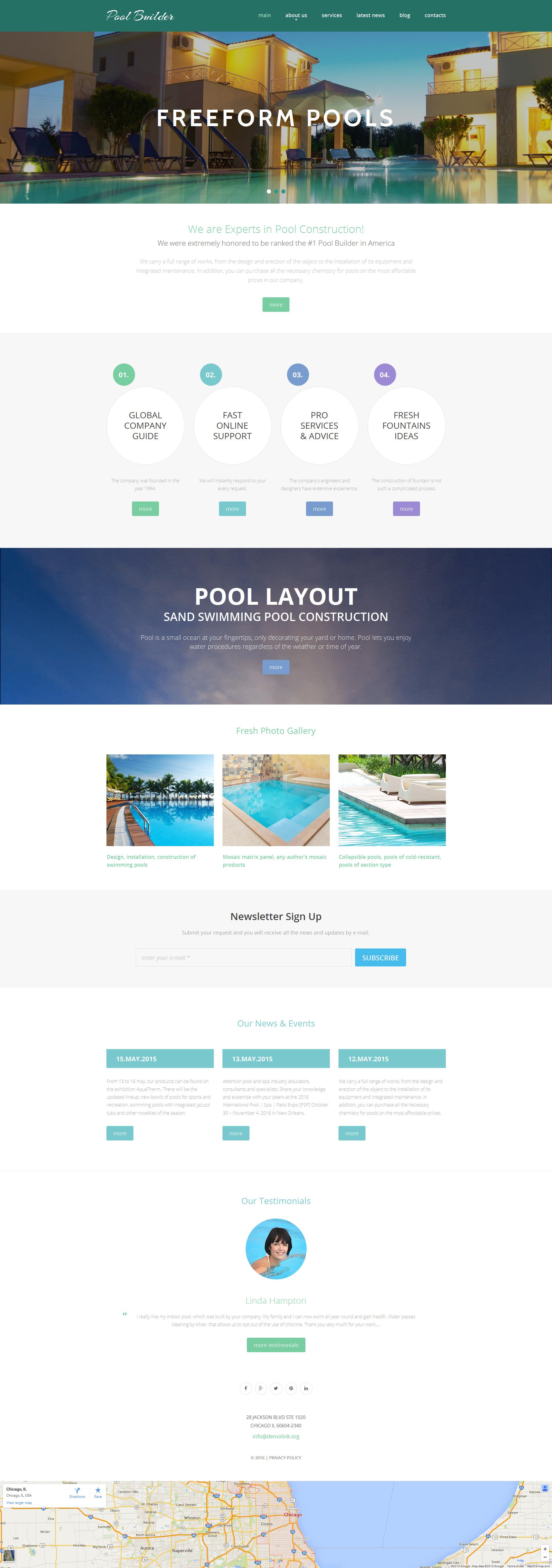 Modèle Moto CMS 3 adaptatif pour site de piscine #56052 - screenshot