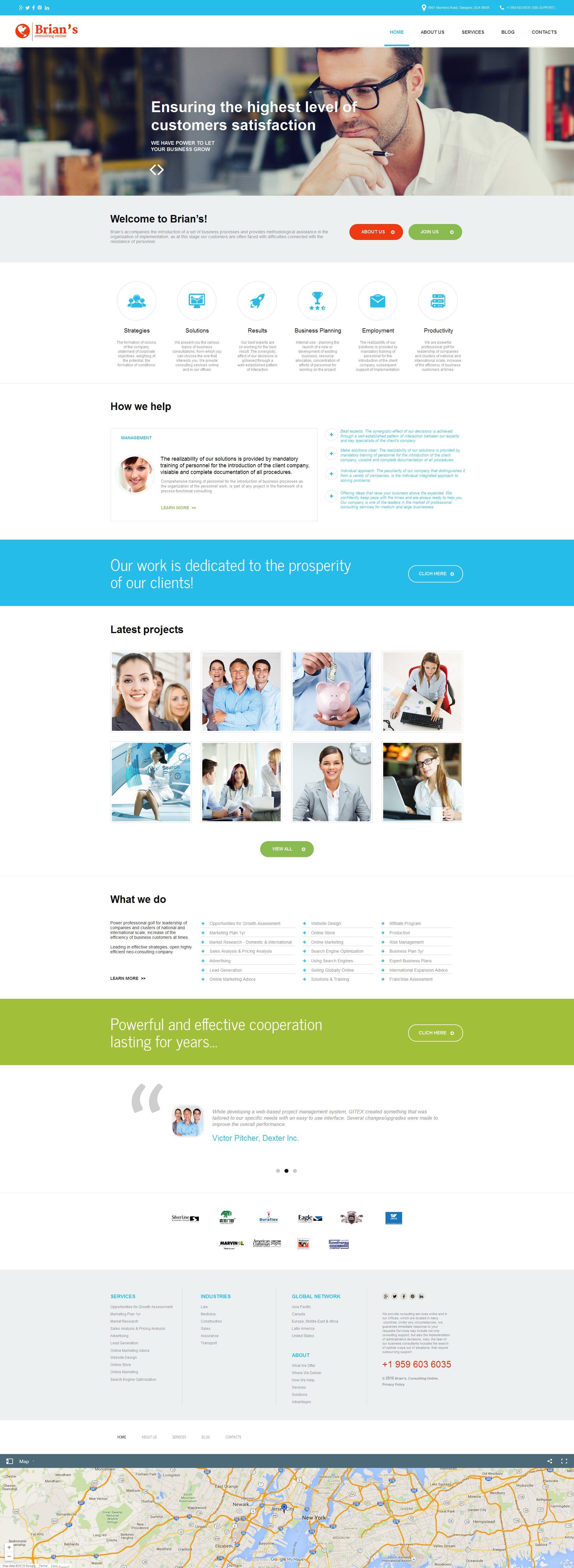 Modèle Moto CMS HTML Premium pour sites de consultation #56089