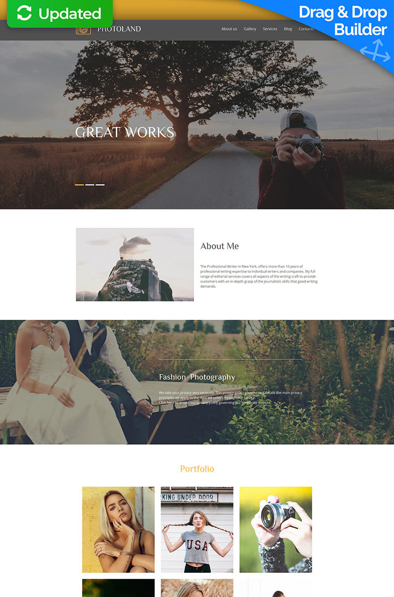 Photographer Portfolio Photo Gallery Template - screenshot
