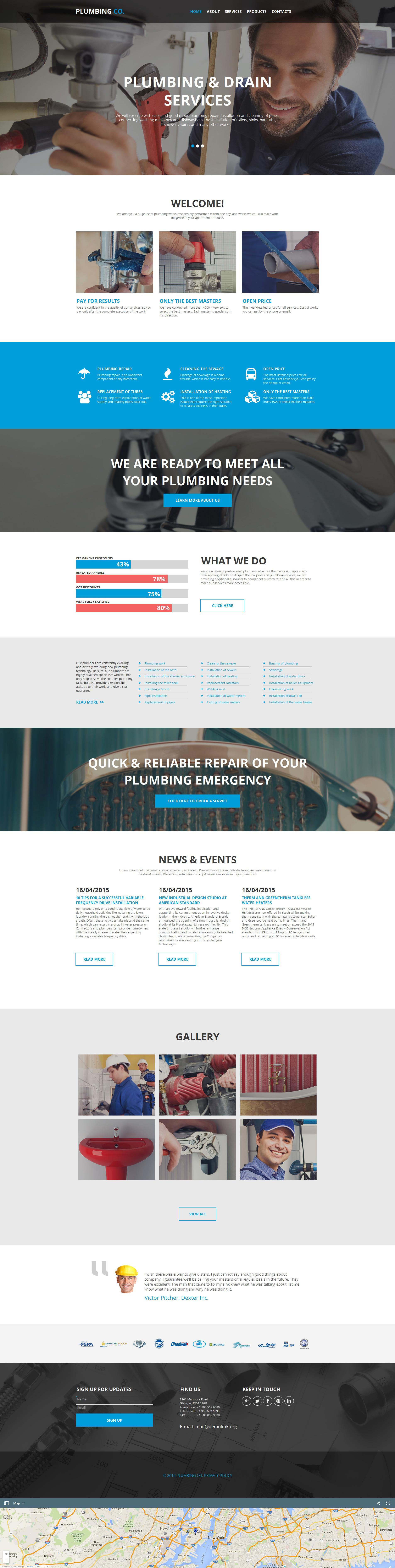 Plantilla Moto CMS HTML #56085 para Sitio de Servicios de Fontanería