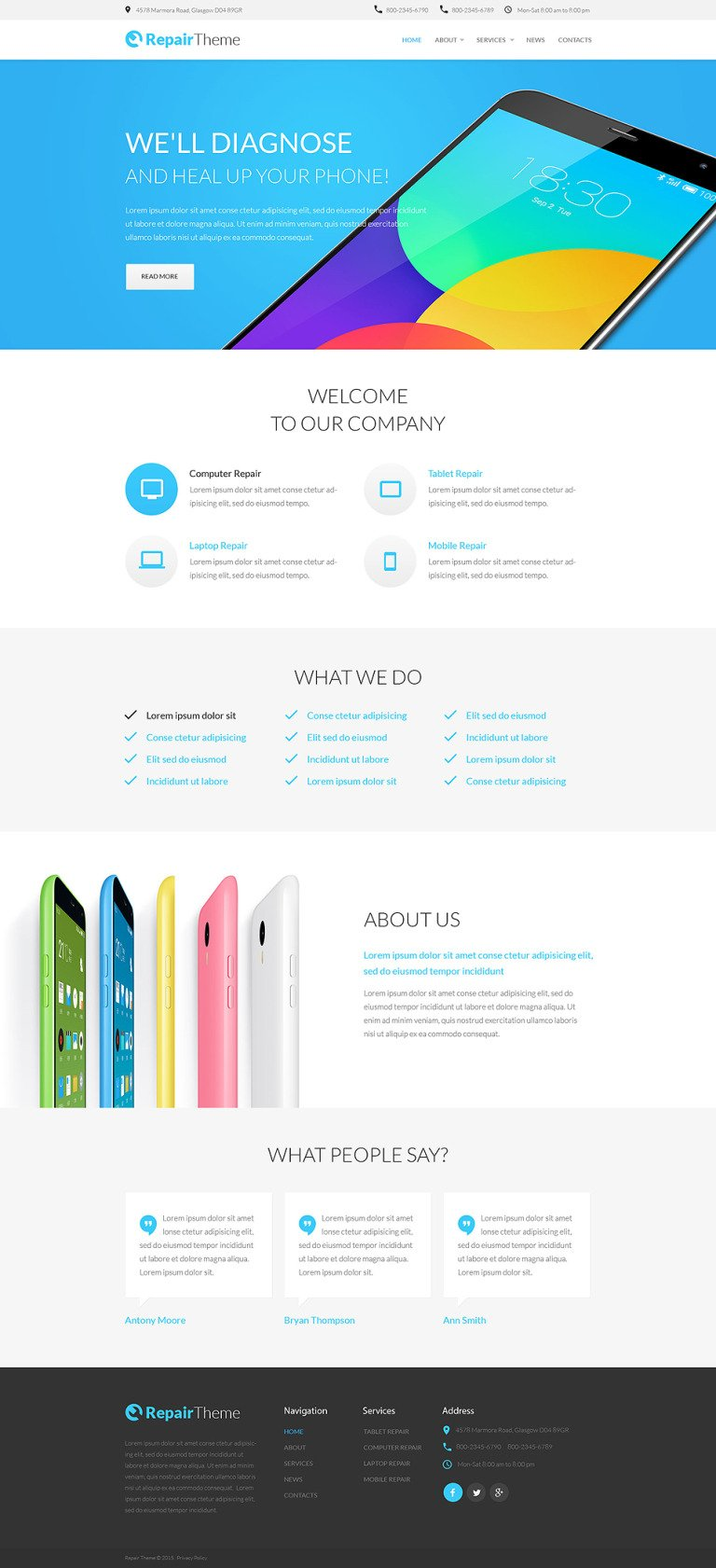 RepairTheme Website Template New Screenshots BIG