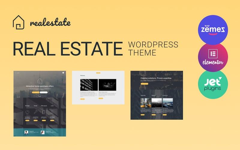 Responsivt Real Estate WordPress-tema #56093