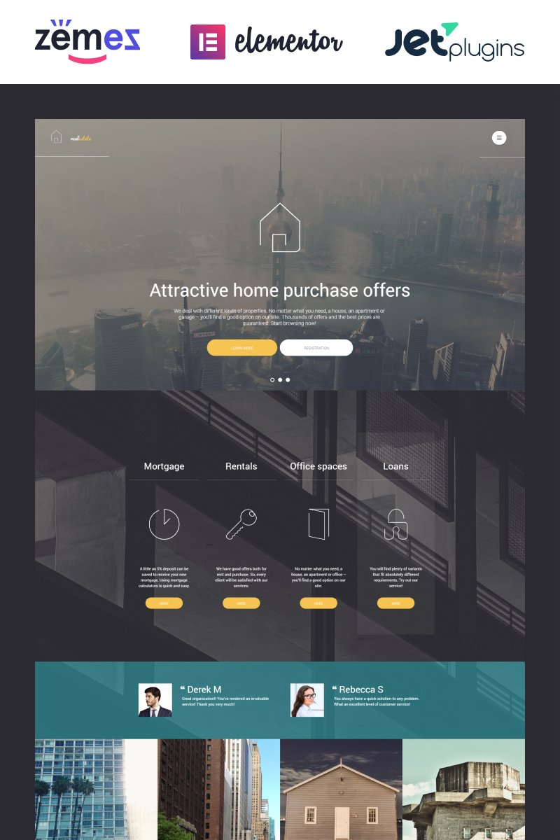Responsivt Real Estate WordPress-tema #56093