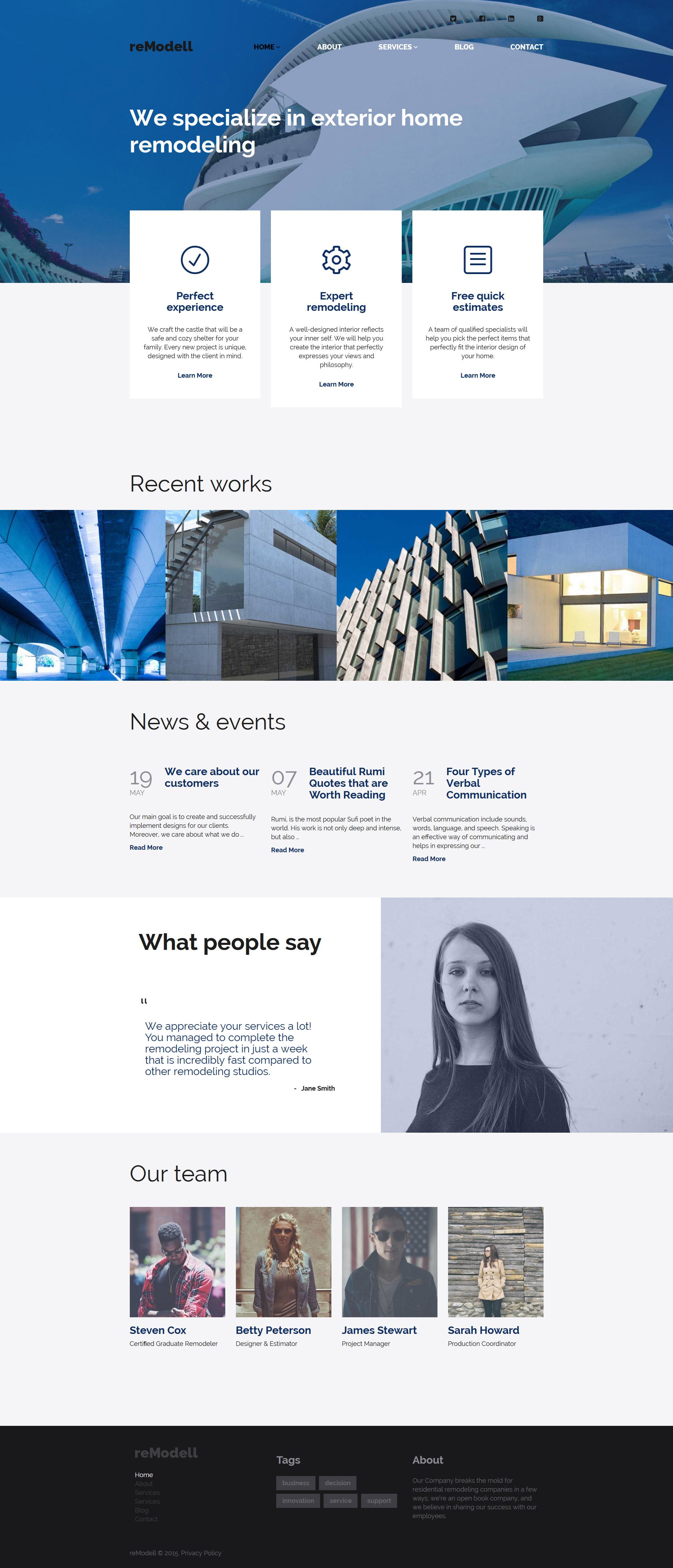 Responsivt reModell WordPress-tema #56013 - skärmbild